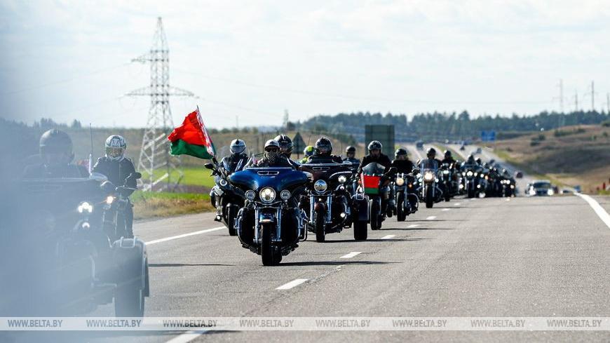 ФОТОФАКТ: Байкеры из Беларуси и России приняли участие в мотопробеге, приуроченном к 75-летию Великой Победы
