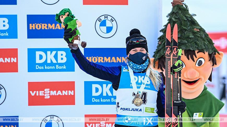 Белорусская биатлонистка Анна Сола выиграла бронзу в спринте на ЧМ в Словении